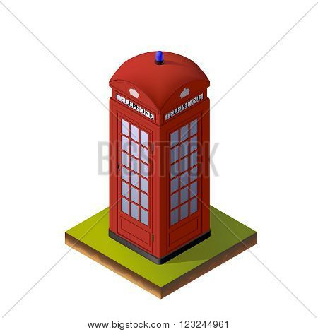 Color Isometric Illustration of Red London Telephone Booth. For Print, Web and Graphic Interfaces