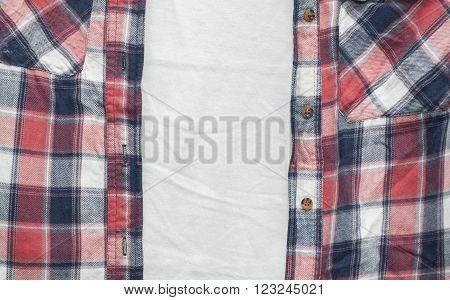 red cotton plaid shirt and white undershirt
