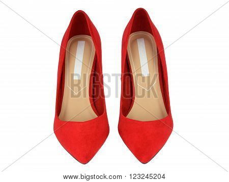 Pair of elegant red suede high-heeled shoes isolated