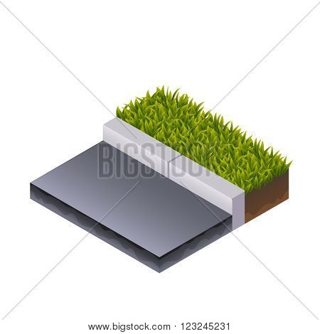 Color Isometric Illustration of Road, Border and Grass. For Web, Mobile, Print and GUI
