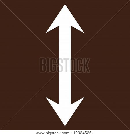 Vertical Flip vector icon. Image style is flat vertical flip pictogram symbol drawn with white color on a brown background.