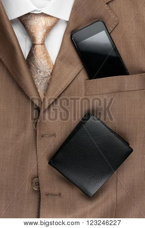 Classic style men's fashion tie shirt telephone as background