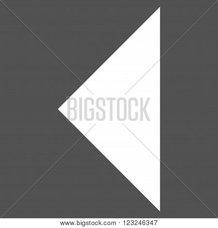 Arrowhead Left vector icon. Image style is flat arrowhead left pictogram symbol drawn with white color on a gray background.