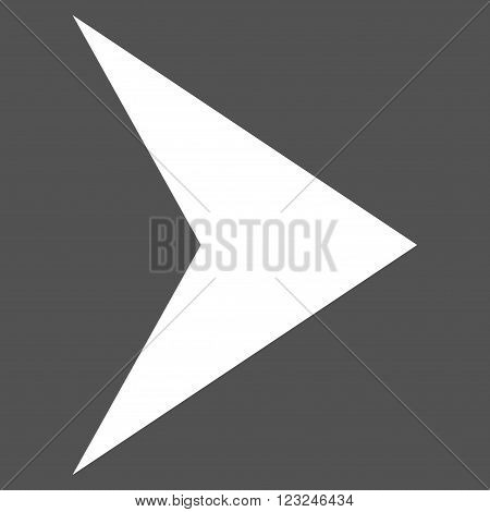 Arrowhead Right vector icon. Image style is flat arrowhead right pictogram symbol drawn with white color on a gray background.