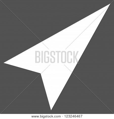 Arrowhead Right-Up vector icon. Image style is flat arrowhead right-up pictogram symbol drawn with white color on a gray background.