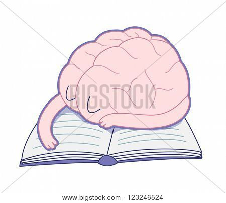 A tired brain sleeping on the book flat cartoon vector illustration. A part of the Brain collection.