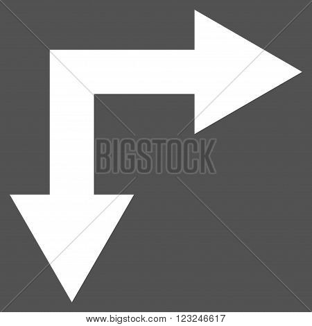 Bifurcation Arrow Right Down vector icon. Image style is flat bifurcation arrow right down pictogram symbol drawn with white color on a gray background.