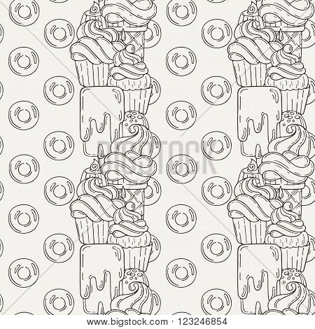 Vector Desserts Seamless Pattern. Cupcakes, Sweets, and Candy.