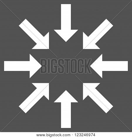 Collapse Arrows vector icon. Image style is flat collapse arrows pictogram symbol drawn with white color on a gray background.