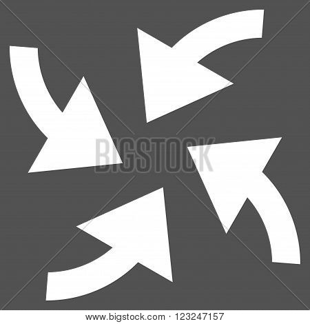 Cyclone Arrows vector icon. Image style is flat cyclone arrows pictogram symbol drawn with white color on a gray background.