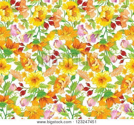 Vector illustration. Seamless flower patern in yellow shades