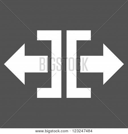 Divide Horizontal Direction vector icon. Image style is flat divide horizontal direction pictogram symbol drawn with white color on a gray background.