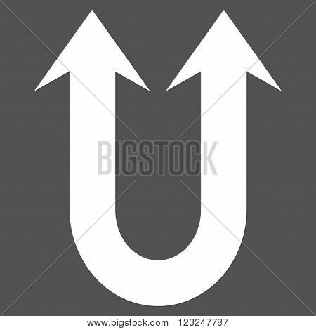 Double Forward Arrow vector icon. Image style is flat double forward arrow pictogram symbol drawn with white color on a gray background.