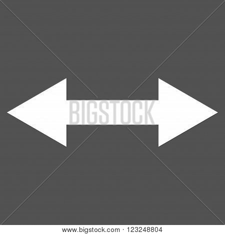 Horizontal Flip vector icon. Image style is flat horizontal flip pictogram symbol drawn with white color on a gray background.