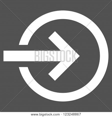 Import vector icon. Image style is flat import pictogram symbol drawn with white color on a gray background.