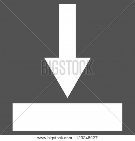 Move Bottom vector icon. Image style is flat move bottom pictogram symbol drawn with white color on a gray background.