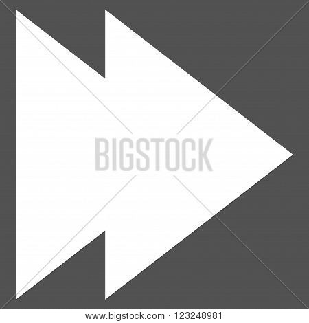 Move Right vector icon. Image style is flat move right pictogram symbol drawn with white color on a gray background.