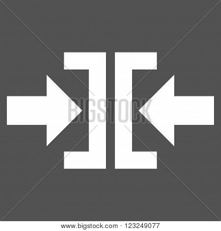 Press Horizontal Direction vector icon. Image style is flat press horizontal direction pictogram symbol drawn with white color on a gray background.