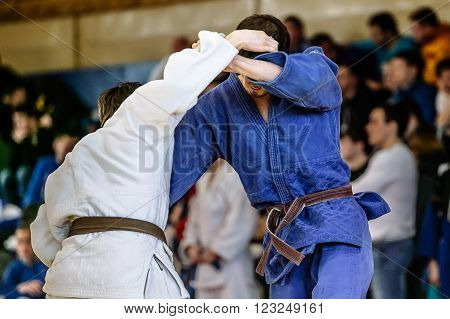 Chelyabinsk, Russia -  March 19, 2016: judokas fighters during fight in Russian competition on judo