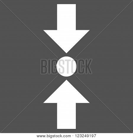 Pressure Vertical vector icon. Image style is flat pressure vertical pictogram symbol drawn with white color on a gray background.