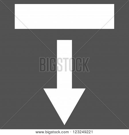 Pull Down vector icon. Image style is flat pull down pictogram symbol drawn with white color on a gray background.
