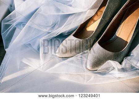 Beautiful Silver Wedding Shoes High Heel Shoes With Veil