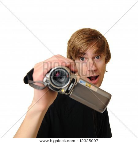 Young Adult Man With Hd Camcorder