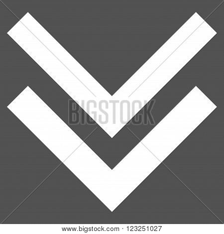 Shift Down vector icon. Image style is flat shift down pictogram symbol drawn with white color on a gray background.