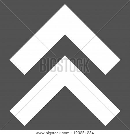 Shift Up vector icon. Image style is flat shift up pictogram symbol drawn with white color on a gray background.