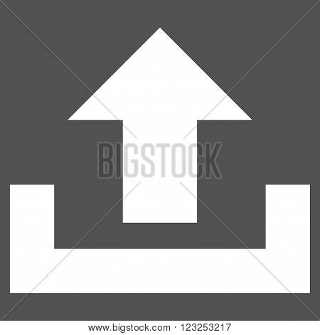 Upload vector icon. Image style is flat upload pictogram symbol drawn with white color on a gray background.