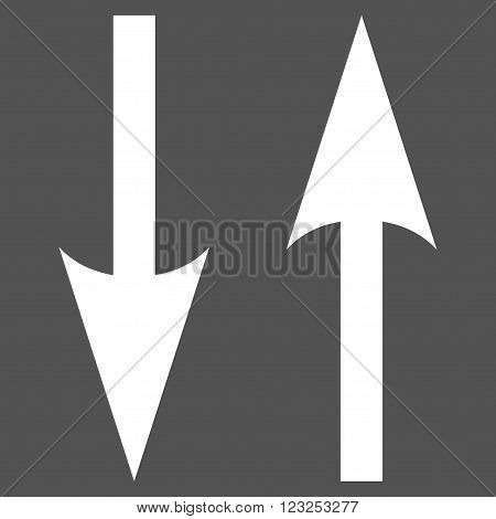 Vertical Exchange Arrows vector icon. Image style is flat vertical exchange arrows pictogram symbol drawn with white color on a gray background.