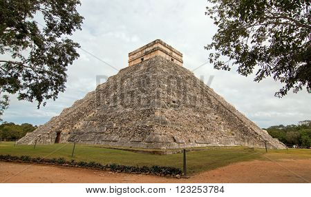 El Castillo Temple Kukulcan Pyramid at Mexico's Chichen Itza Mayan ruins