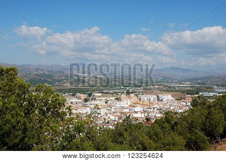 View over the town rooftops towards the mountains Velez Malaga Costa del Sol Malaga Province Andalusia Spain Western Europe.