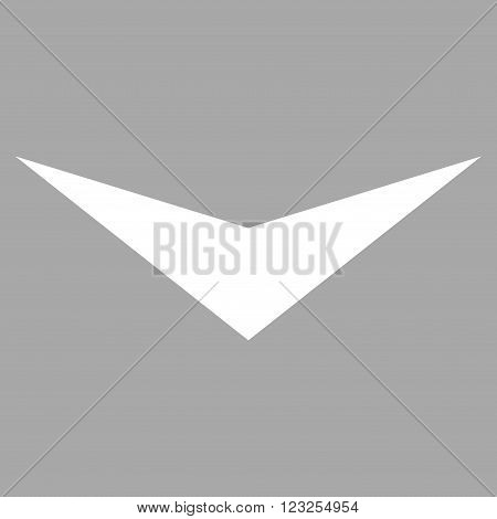 Arrowhead Down vector icon. Image style is flat arrowhead down pictogram symbol drawn with white color on a silver background.