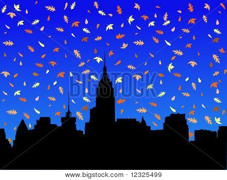 Midtown manhattan skyline in autumn with falling leaves illustration