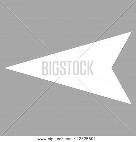 Arrowhead Left vector icon. Image style is flat arrowhead left pictogram symbol drawn with white color on a silver background.