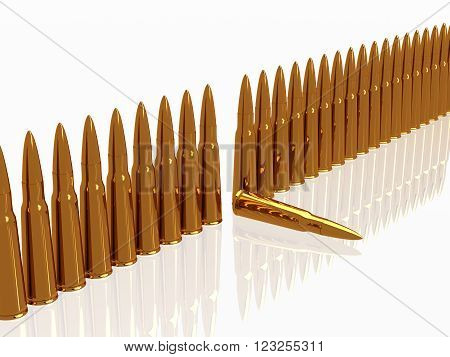 row Bullets 9mm ammo ammunition  horizontal copper