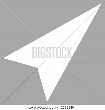 Arrowhead Right-Up vector icon. Image style is flat arrowhead right-up pictogram symbol drawn with white color on a silver background.