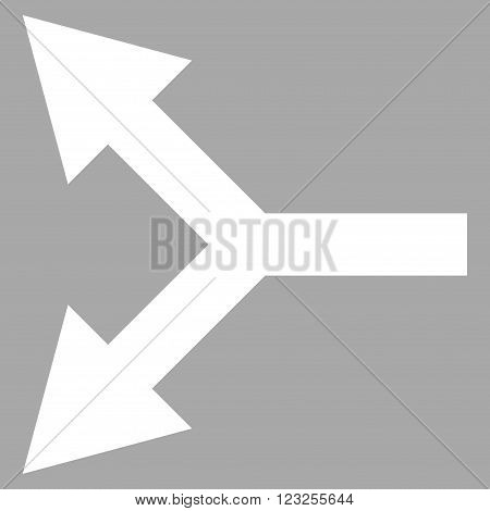 Bifurcation Arrow Left vector icon. Image style is flat bifurcation arrow left pictogram symbol drawn with white color on a silver background.