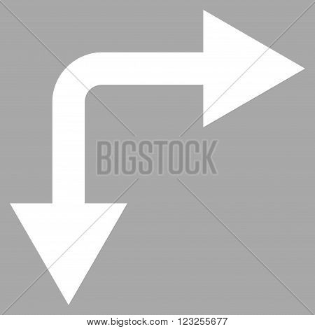 Bifurcation Arrow Right Down vector icon. Image style is flat bifurcation arrow right down pictogram symbol drawn with white color on a silver background.