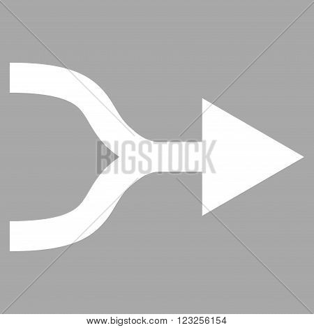 Combine Arrow Right vector icon. Image style is flat combine arrow right pictogram symbol drawn with white color on a silver background.