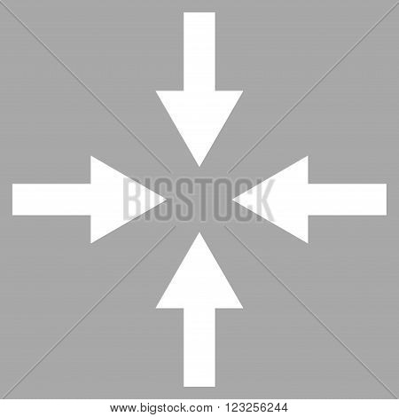 Compress Arrows vector icon. Image style is flat compress arrows pictogram symbol drawn with white color on a silver background.