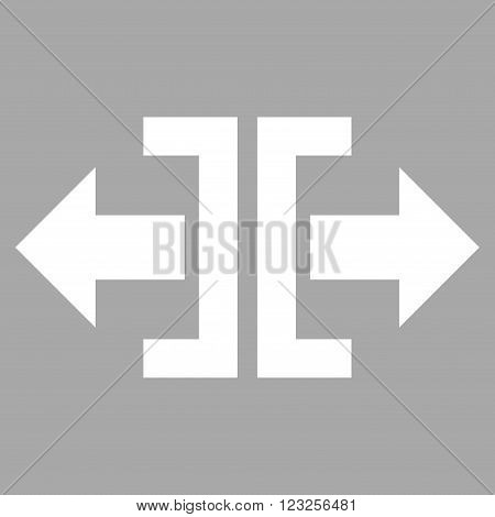 Divide Horizontal Direction vector icon. Image style is flat divide horizontal direction pictogram symbol drawn with white color on a silver background.