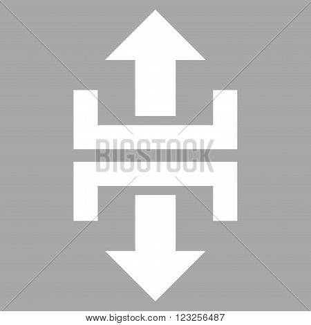 Divide Vertical Direction vector icon. Image style is flat divide vertical direction pictogram symbol drawn with white color on a silver background.