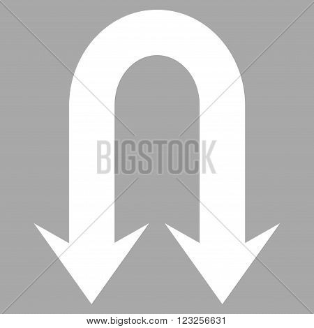 Double Back Arrow vector icon. Image style is flat double back arrow pictogram symbol drawn with white color on a silver background.