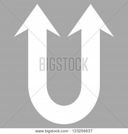 Double Forward Arrow vector icon. Image style is flat double forward arrow pictogram symbol drawn with white color on a silver background.