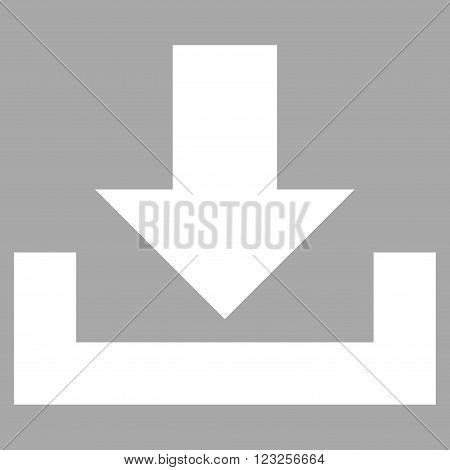 Downloads vector icon. Image style is flat downloads pictogram symbol drawn with white color on a silver background.