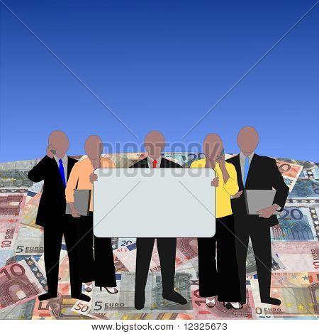European Business team on euros globe illustration