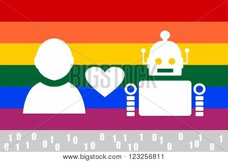 Human and robot relationships. Robotics industry relative image. Heart icon between robot and human. LGBT rainbow flag