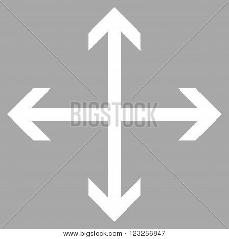 Expand Arrows vector icon. Image style is flat expand arrows pictogram symbol drawn with white color on a silver background.